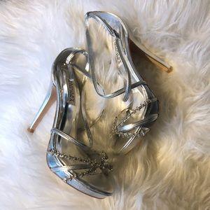 Badgley Mischka Silver Embellished Heels Size 7M